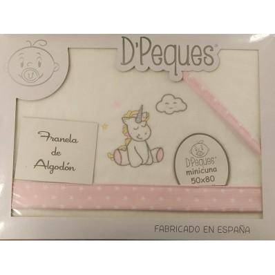 Sábanas minicuna franela unicornio de D'Peques
