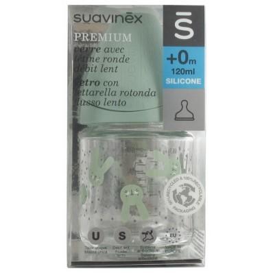 Biberón de vidrio 120ml verde de Suavinex