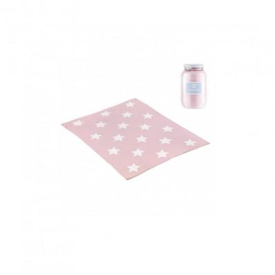 Manta algodón bebe star rosa