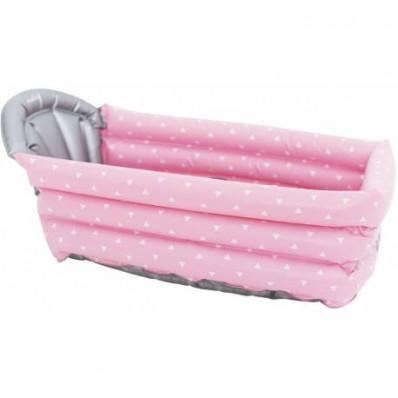 Bañera hinchable rosa con triángulos blancos de Olmitos. 0 Meses