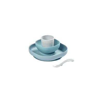 Vajilla 4 piezas Beaba Jungle de silicona gris/azul