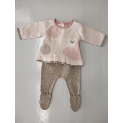Conjunto Mayoral tricot polaina rosa camel de 0-1 mes