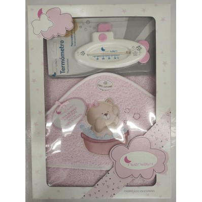 Capa de baño + termómetro Interbaby rosa