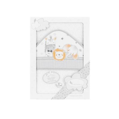 Capa de baño Animalitos Bco/naranja