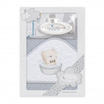 Capa de baño Osito bañera + termometro Gris