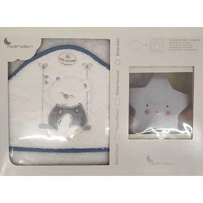 Capa de baño Blanco/azul Osito + luz compañia Interbaby