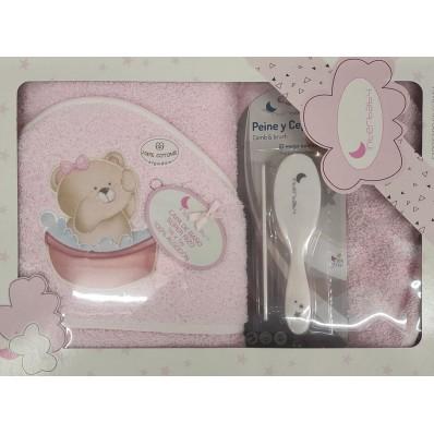 Capa de baño 1x1 osito rosa + peine y cepillo Interbaby