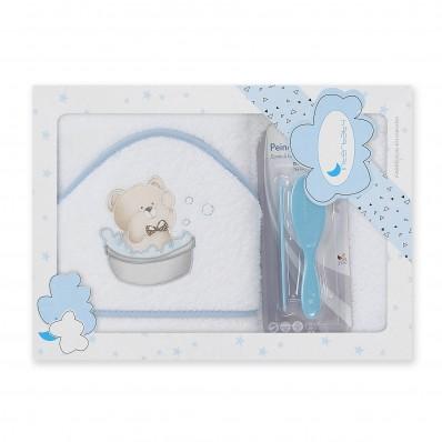 Capa de baño Osito Blanca + peine y cepillo Interbaby
