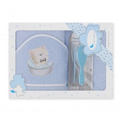 Capa de baño 1x1 Osito azul + peine y cepillo Interbaby