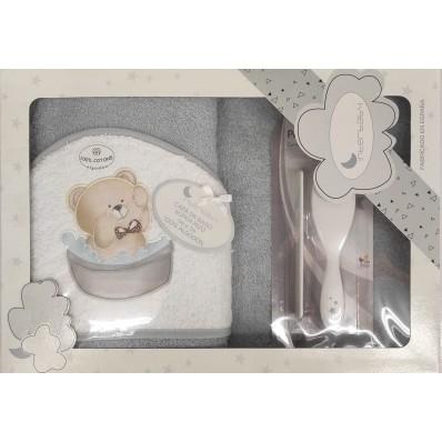 Capa de baño 1x1 Osito gris + peine y cepillo Interbaby