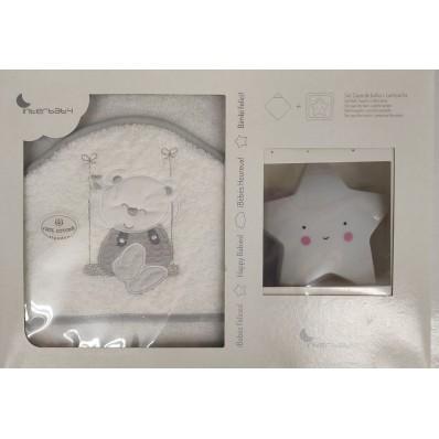 Capa de baño 1x1 Osito Blanca/Gris + peine y cepillo Interbaby